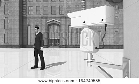 Computer generated 3D illustration with surveillance camera and passing man