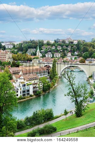 View of Bern Switzerland with the Aare River in the foreground