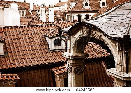 View of roof tops in historic Prague Czech Republic