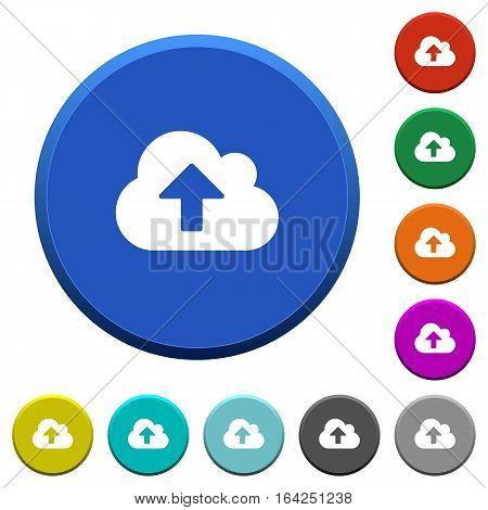 Cloud upload round color beveled buttons with smooth surfaces and flat white icons