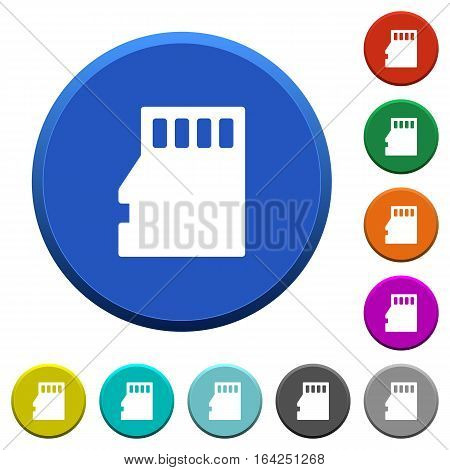 Micro SD memory card round color beveled buttons with smooth surfaces and flat white icons