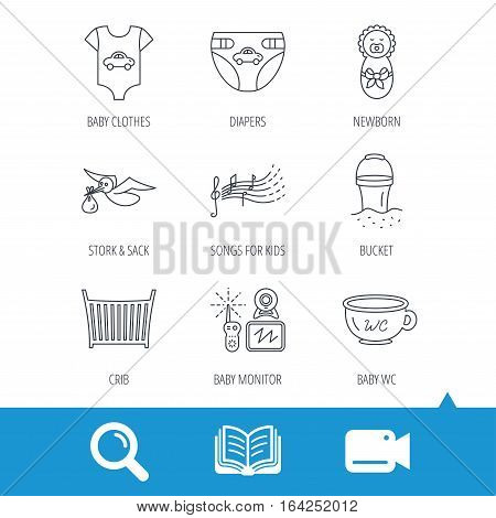Diapers, newborn baby and clothes icons. Kids songs, beach bucket and bed linear signs. Video monitoring, wc flat line icons. Video cam, book and magnifier search icons. Vector