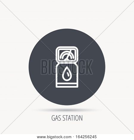 Gas station icon. Petrol fuel pump sign. Round web button with flat icon. Vector