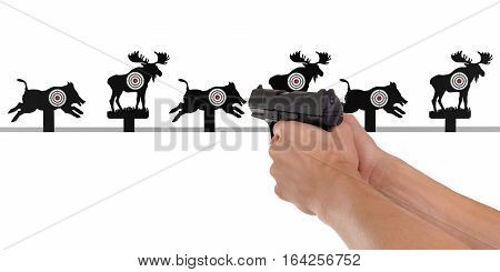 Animal target with pistol in hand on white background