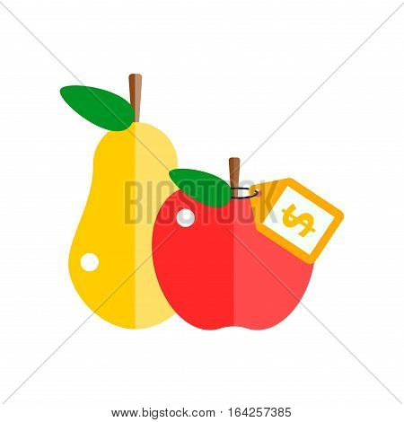 Red apple and pear icon organic food. Fresh sweet vegetarian organic fruit agriculture. Vector illustration health juicy nutritious isolated on white.