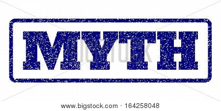 Navy Blue rubber seal stamp with Myth text. Vector caption inside rounded rectangular banner. Grunge design and unclean texture for watermark labels. Horisontal sticker on a white background.