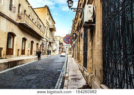 BAKU, AZERBAIJAN - JANUARY, 16, 2016. The streets of the old town - Icheri Sheher. Icheri Sheher is a UNESCO World Heritage Site since 2000.