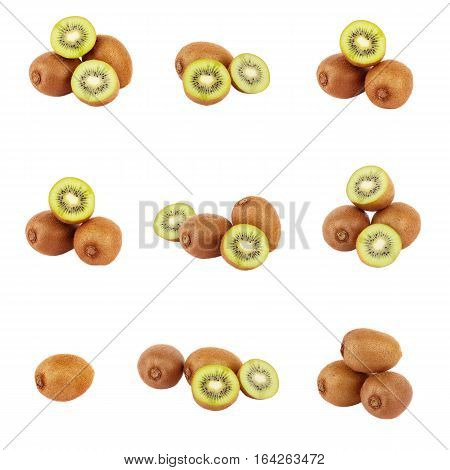 Set of different variations of green kiwi isolated on white