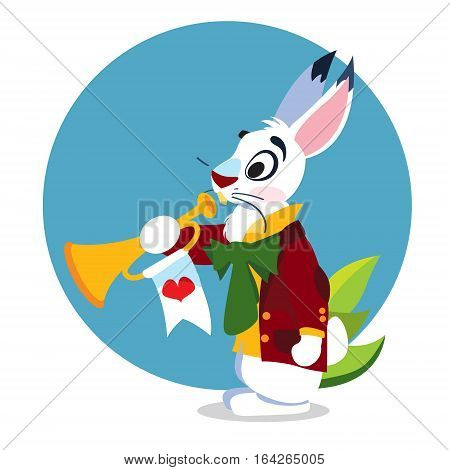 White Rabbit with a pipe. Illustration to the fairy tale Alice's Adventures in Wonderland. Template with place for text.