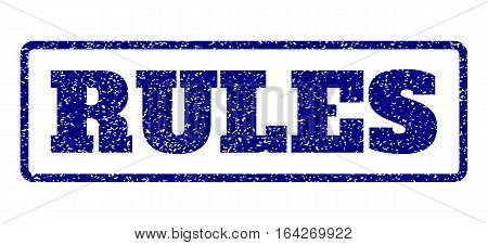 Navy Blue rubber seal stamp with Rules text. Vector tag inside rounded rectangular banner. Grunge design and scratched texture for watermark labels. Horisontal sticker on a white background.
