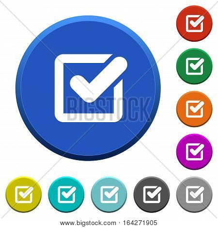 Checkbox round color beveled buttons with smooth surfaces and flat white icons
