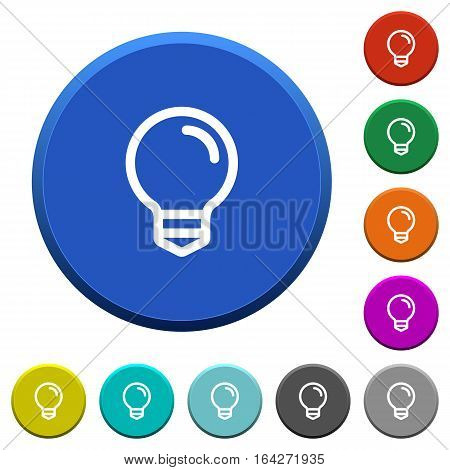 Light bulb round color beveled buttons with smooth surfaces and flat white icons