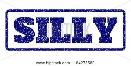 Navy Blue rubber seal stamp with Silly text. Vector tag inside rounded rectangular shape. Grunge design and dirty texture for watermark labels. Horisontal sign on a white background.