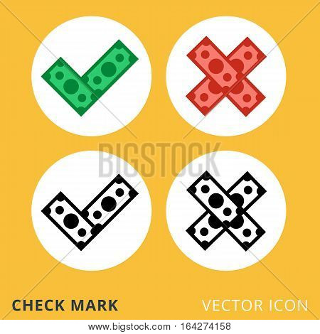 Check mark flat vector icons, checkbox and cross decline dollar piles color vector icons, yes and no signs