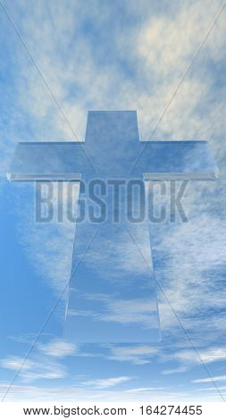 An illustration of a translucent Christian cross against a party cloudy blue sky.