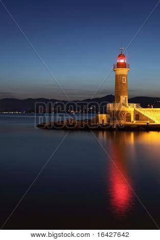 Lighthouse at dusk in Saint-Tropez, France
