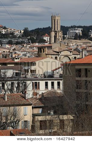 View of Aix-en-Provence with its cathedral, the Saint Sauveur