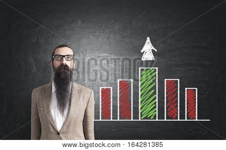 Portrait of a baffled businessman with a long beard standing in a beige suit near a blackboard with a red and green graph. Concept of success