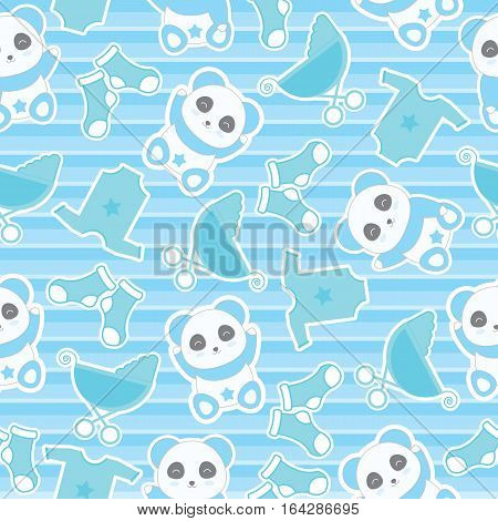 Seamless background of baby shower illustration with cute baby boy panda and baby clothes on stripes background suitable for baby wallpaper, scrap paper and postcard