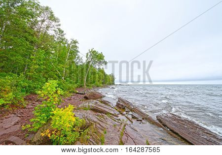 Crashing Waves on Lake Superior on Stormy day in the Porcupine Mountains of Michigan
