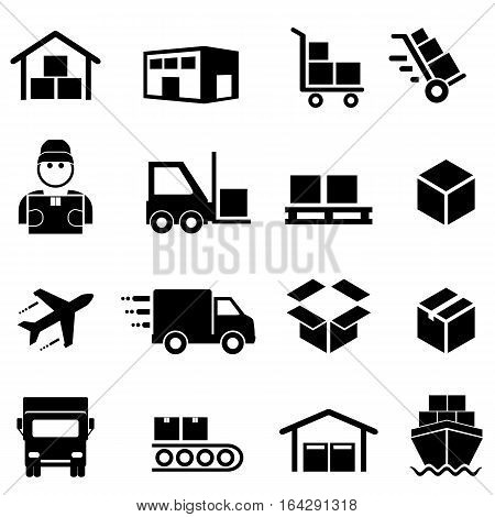 Shipping freight cargo delivery distribution and logistics icon set