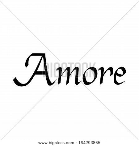 Amore hand drawn phrase. Love in Italian. Lettering for Valentines day. Ink illustration. Modern brush calligraphy. Isolated on white background.