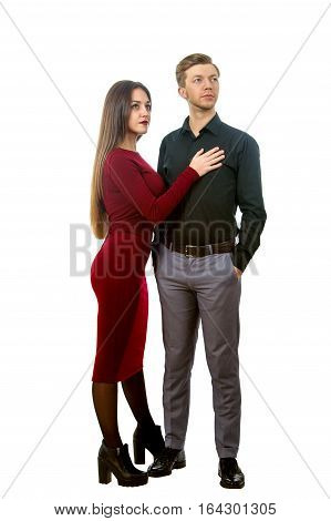 Beautiful Girl In A Red Dress And A Man