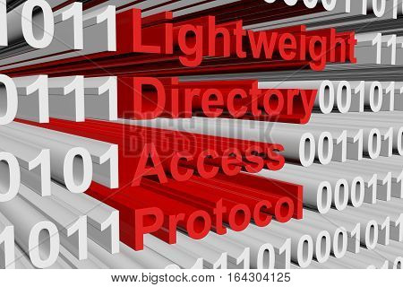 Lightweight Directory Access Protocol in the form of binary code, 3D illustration