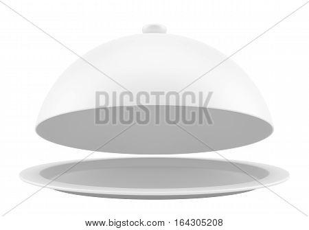 White opened cloche on white background. 3d illustration