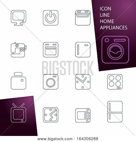 Set line icons home appliances. washing machine, refrigerator microwave, sewing machine, TV, watch, start button. button for web