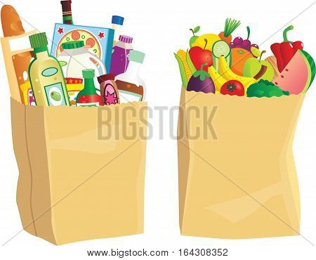 Two paper shopping bags full of various groceries.