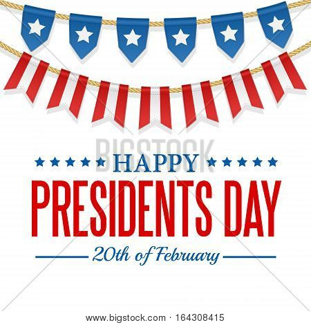 Presidents Day background. USA patriotic template with text stripes and stars. Vector colorful bunting decoration. Garland pennants on a rope for american party festival celebration special event