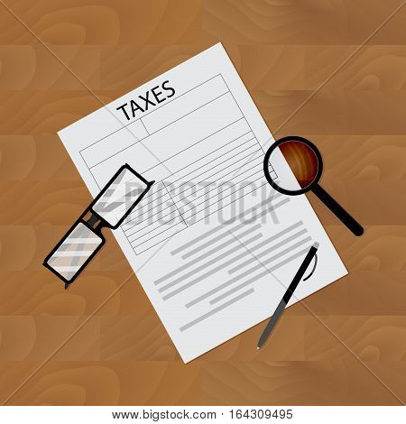 Tax form on table. Tax return form taxation and accounting. Vector illustration