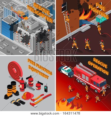 Fireman isometric concept with firefighter equipment and different kinds of rescue operations vector illustration