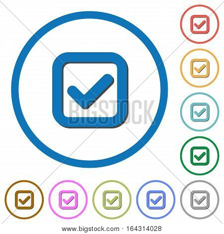 Checkbox flat color vector icons with shadows in round outlines on white background