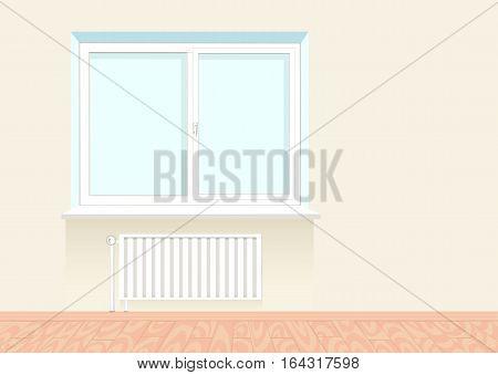 Realistic boring window with a radiator under it. Wooden floor. Vector illustration.