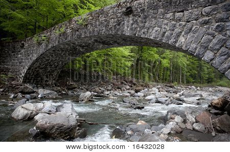 ancient stone bridge in swiss Alps, Switzerland