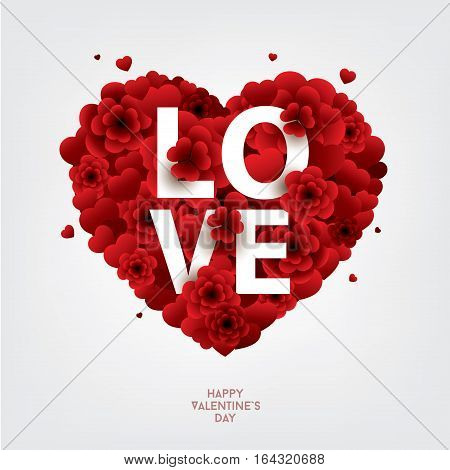RED Valentines heart with the LOVE inscription . Decorative heart background with floral elements and hearts. Colorful vector illustration for your banner, poster, flyer, brochure.