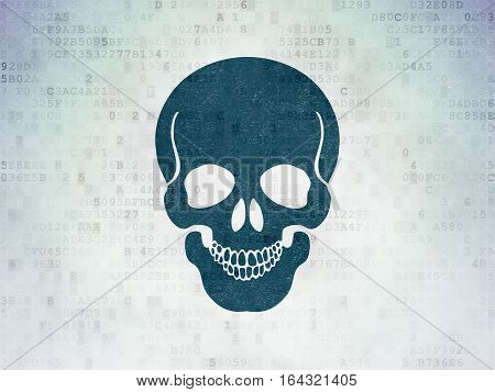 Health concept: Painted blue Skull icon on Digital Data Paper background