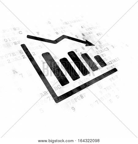 News concept: Pixelated black Decline Graph icon on Digital background