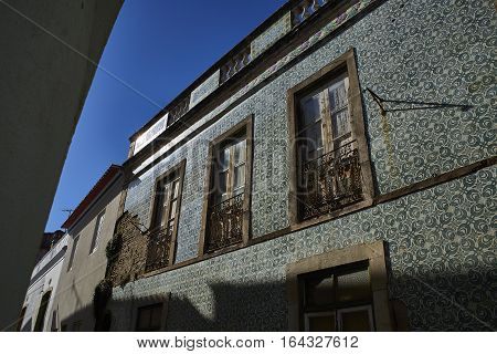Tiled Portuguese Building In The Downtown Of Beja, Alentejo. Portugal.