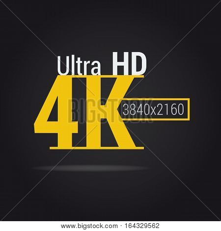Vector sign ultra HD 4K. Yellow flat icon on black background. Modern resolution monitors for high-quality picture