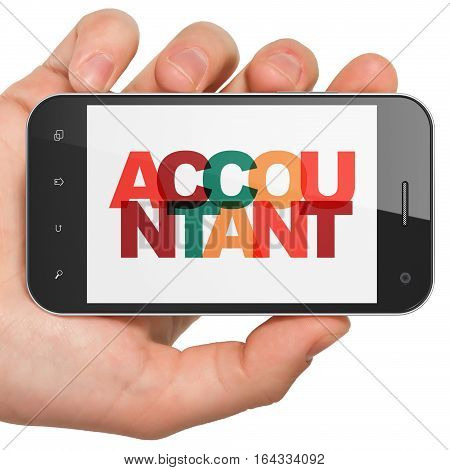 Banking concept: Hand Holding Smartphone with Painted multicolor text Accountant on display, 3D rendering
