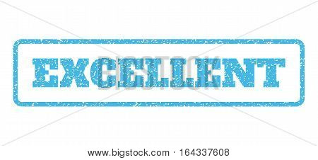 Light Blue rubber seal stamp with Excellent text. Vector caption inside rounded rectangular shape. Grunge design and dirty texture for watermark labels. Horisontal sign on a white background.