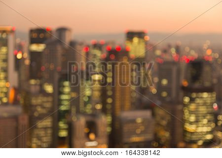 Blurred lights city of Osaka night view abstract background