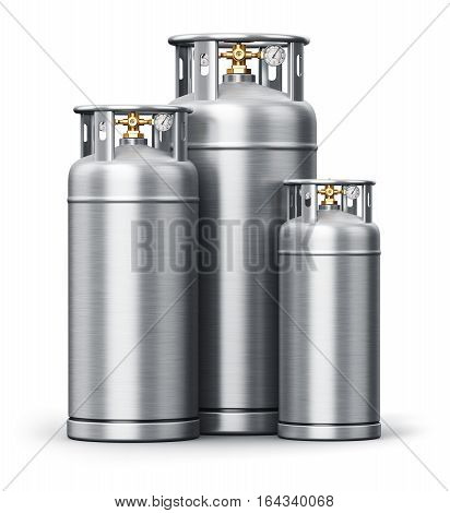 3D render illustration of the group of different size metal stainless steel containers or cylinders for liquefied compressed natural oxygen nitrogen or other gas for scientific tests and indu