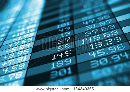 3D render illustration of blue stock exchange market trade big data arranged in table chart screen monitor or display with selective focus effect