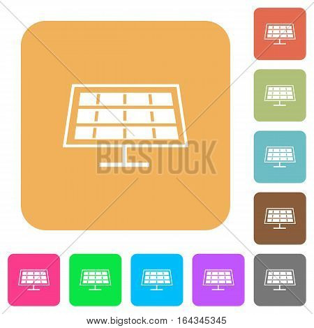 Solar panel flat icons on rounded square vivid color backgrounds.