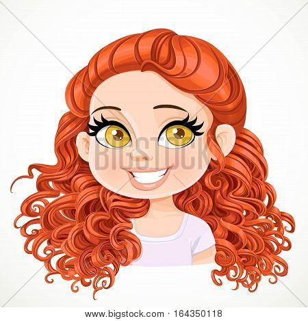 Beautiful Brunette  Girl With Red Magnificent Curly Hair Gathered At The Nape Portrait Isolated On W