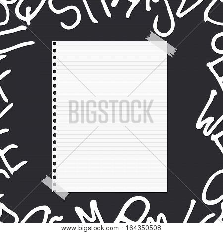 White ruled note, notebook, copybook paper sheet on pattern created of alphabet letters.